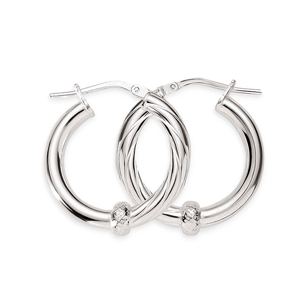 Silver 15mm 1/2 polished 1/2 twist hoops