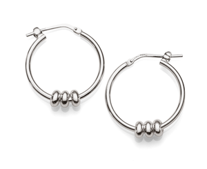 Sterling Silver 3-Ring Hoops