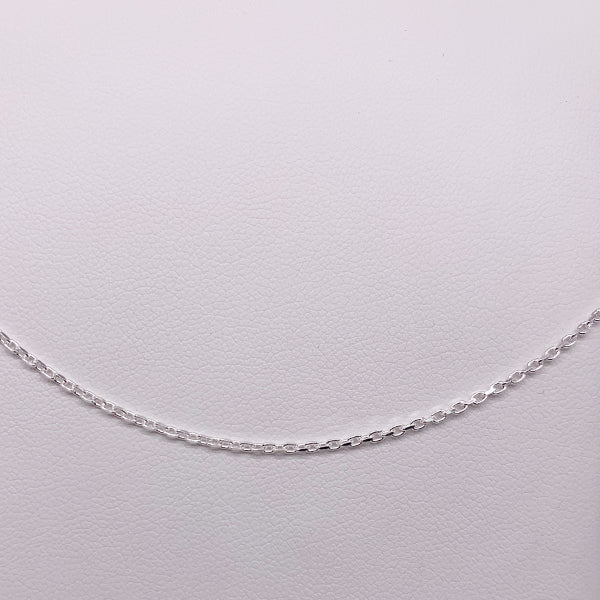 Sterling Silver 40cm Faceted Cable Chain