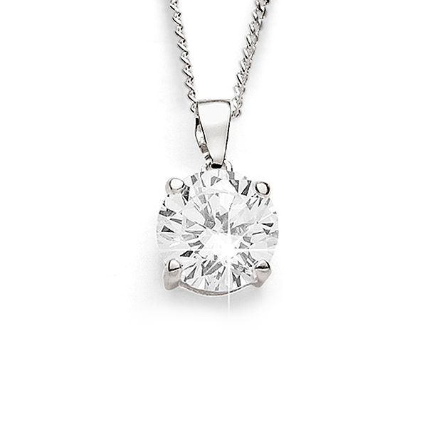 Sterling Silver 7mm Cubic Zirconia Pendant