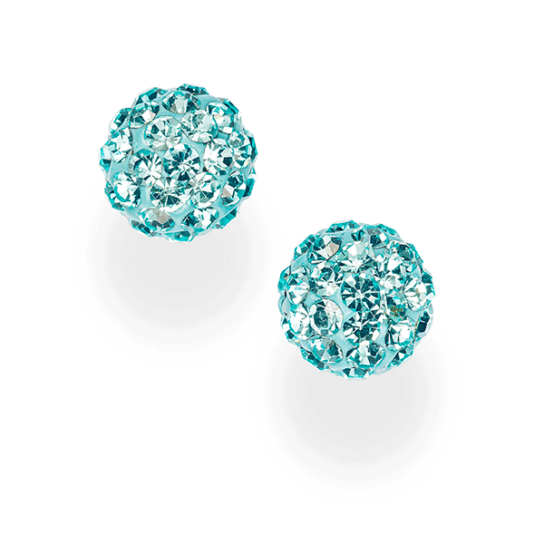 Sterling Silver Aqua Crystal Encrusted Ball Studs