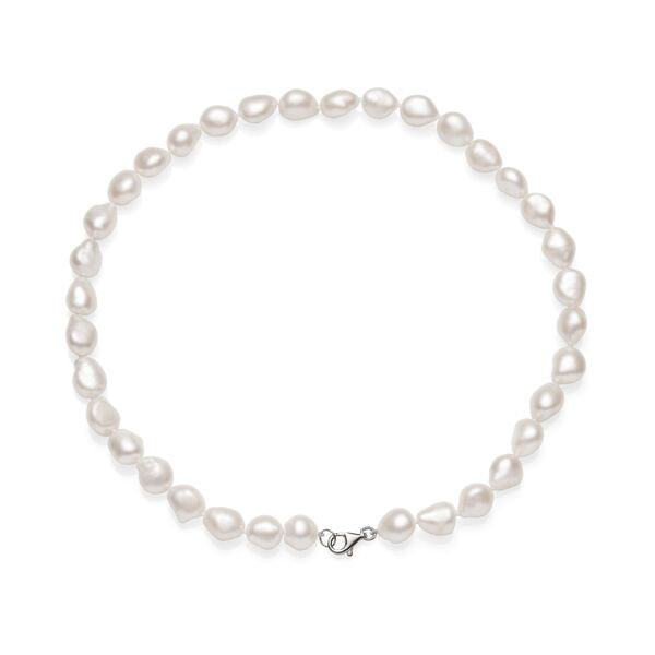 Sterling Silver Baroque Rice Pearl Necklet