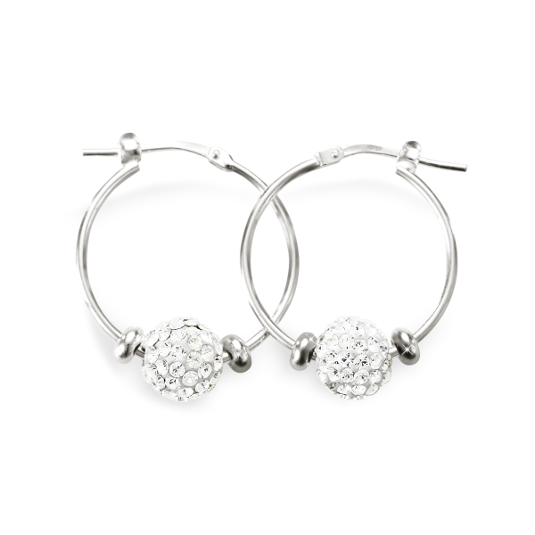Sterling Silver Crystal Hoops