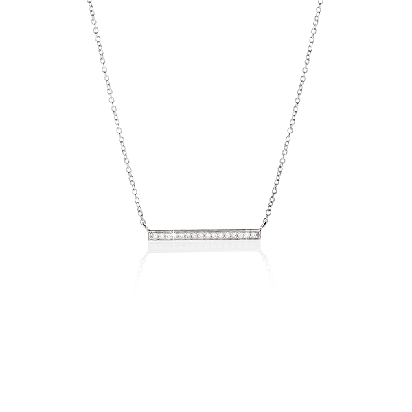 Sterling Silver Cubic Zirconia Bar Necklet On Chain