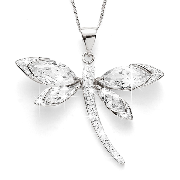 Sterling Silver Cubic Zirconia Dragonfly Pendant