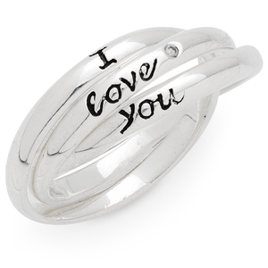 Sterling Silver Diamond Set 'I Love You' 3 Band Rings