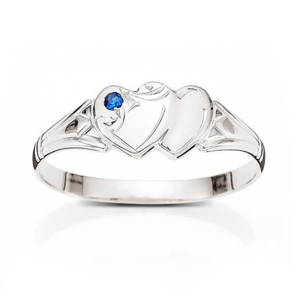 Sterling Silver Double Heart Signet Ring