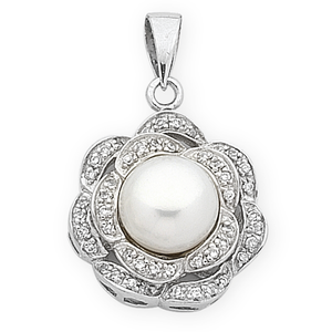 Sterling Silver Fresh Water Pearl & Cubic Zirconia Pendant