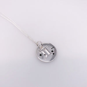 Sterling Silver Gemini pendant with chain