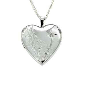 Sterling Silver Heart Shape Diamond Engraved Locket