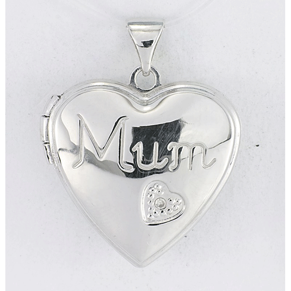 Sterling Silver Heart Shape Diamond 'Mum' Locket
