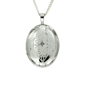 Sterling Silver Oval Shape Engraved Diamond Locket