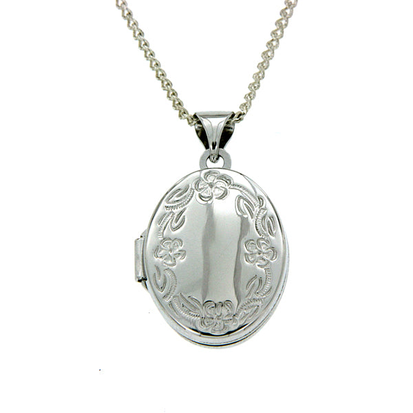 Sterling Silver Oval Shape Floral Border Locket
