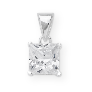 Sterling Silver Princess Cut Cubic Zirconia  Set Pendant With 45cm Curb Chain