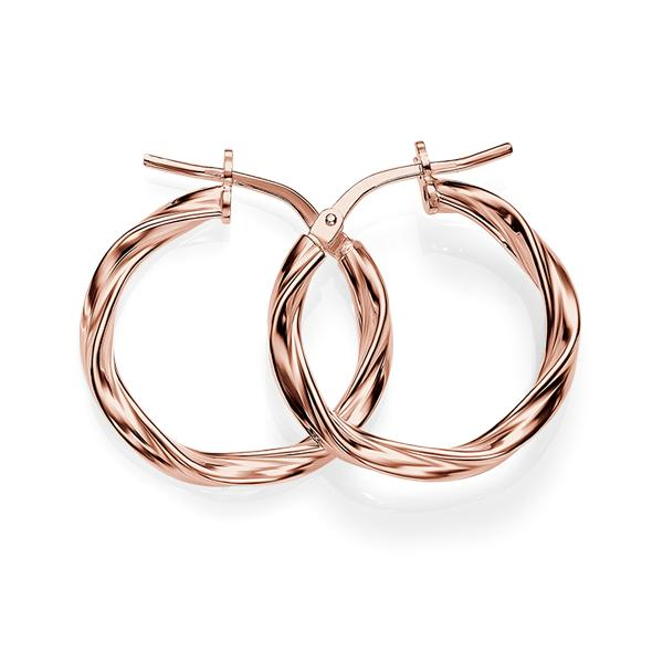 Sterling Silver Rose Ribbon Twist Hoops