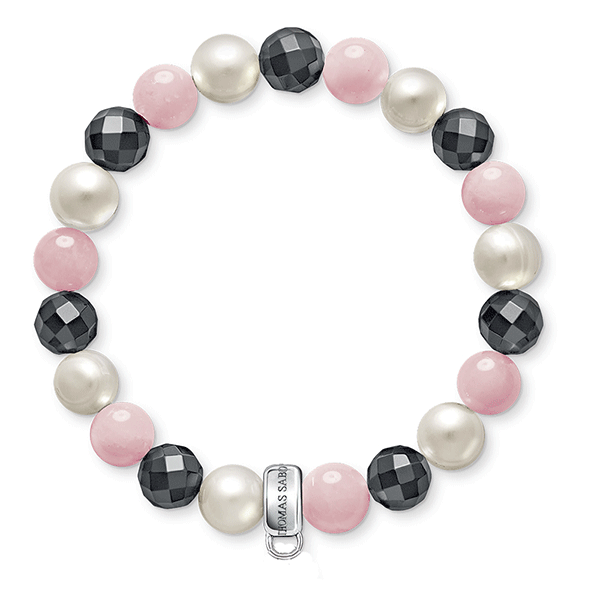 THOMAS SABO Charm Club Rose Quartz & Pearl Bracelet