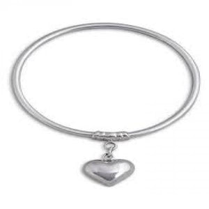 VON TRESCOW STERLING SILVER BANGLE WITH PUFF HEART