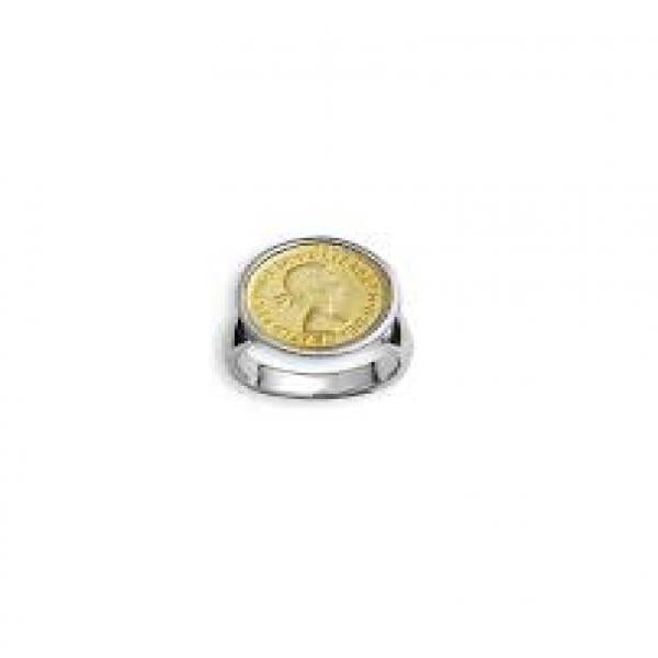 VON TRESCOW STERLING SILVER YELLOW THREE PENCE RING