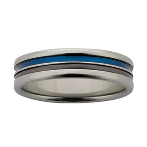 Ziro Titanium Ring with Black Zirconium Centre & Blue Groove