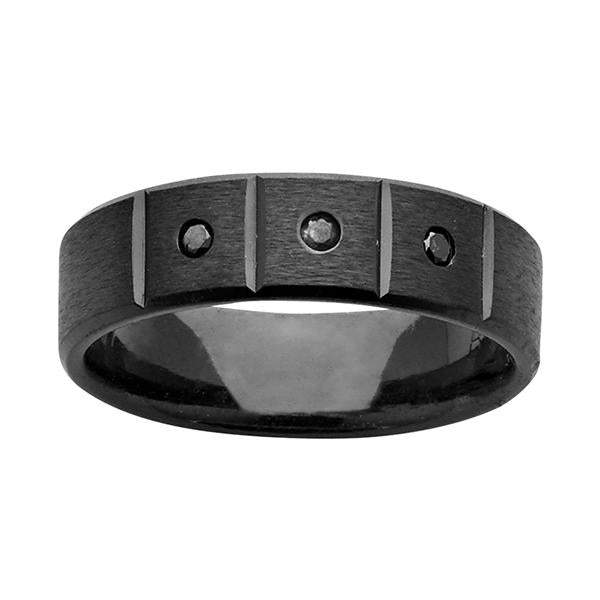 ZiRO Black Zirconium Ring with Black Diamonds
