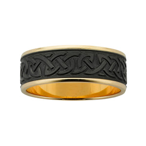 ZiRO Gold & Black Zirconium Celtic Patterned Ring