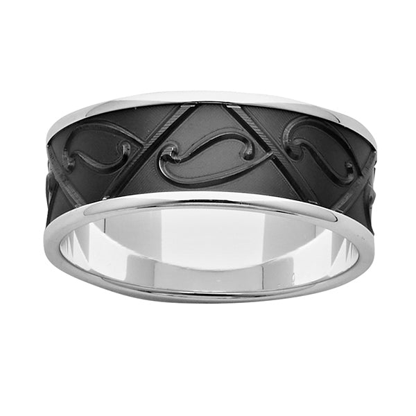 ZiRO Sterling Silver and Black Zirconium Patterned Ring
