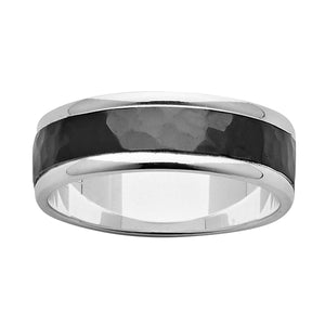 ZiRO Sterling Silver and Black Zirconium Ring