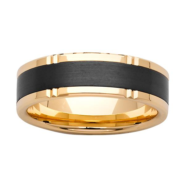 ZiRO Yellow Gold and Black Zirconium Ring