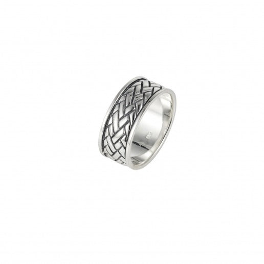 Polished and Oxidised Rhodium Plated Sterling Silver Ring with Celtic Centre Pattern