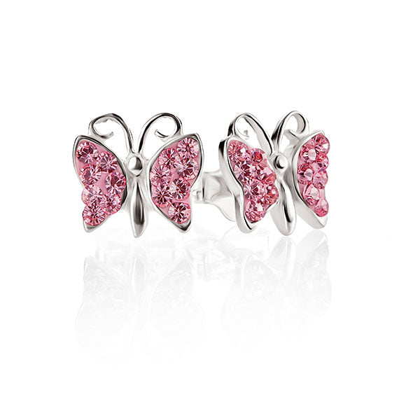 Sterling Silver Pink Cubic Zirconia Butterfly Studs