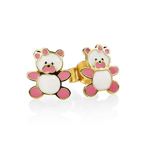 9Ct Gold Enamel Teddy Bear Studs