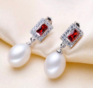 Elegant Ruby and Diamond Freshwater Pearl Earrings.