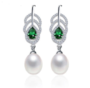 Vintage Emerald and Freshwater Pearl Earrings.
