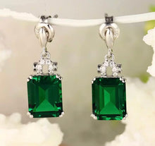 Load image into Gallery viewer, Emerald and Diamond Semi-Drop Earrings.