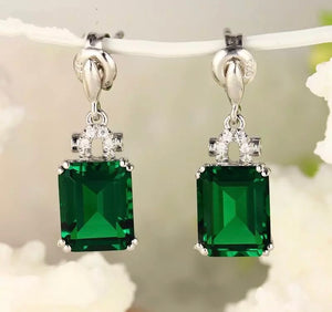 Emerald and Diamond Semi-Drop Earrings.