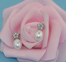 Load image into Gallery viewer, Diamond Star and Freshwater Pearl Earrings.