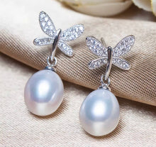 Load image into Gallery viewer, Butterfly Diamond and Freshwater Pearl Earrings.