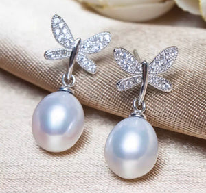 Butterfly Diamond and Freshwater Pearl Earrings.