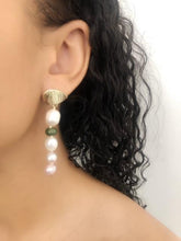 Load image into Gallery viewer, Luxurious White, Pink and Purple Freshwater Pearl Earrings with Green Jade.