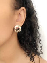 Load image into Gallery viewer, Moon and Sun Geometric Stud Pearl Earrings.