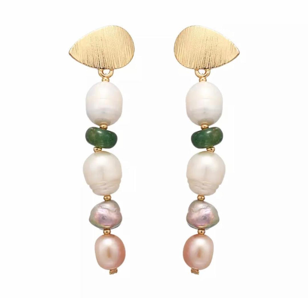 Luxurious White, Pink and Purple Freshwater Pearl Earrings with Green Jade.