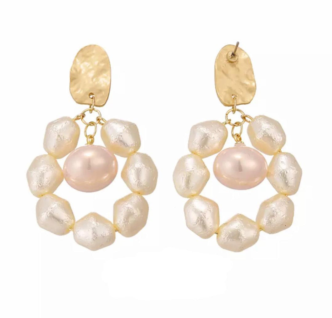 Antique White and Pink Baroque Pearl Drop Earrings.
