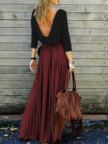 Backless Draped Maxi Dress