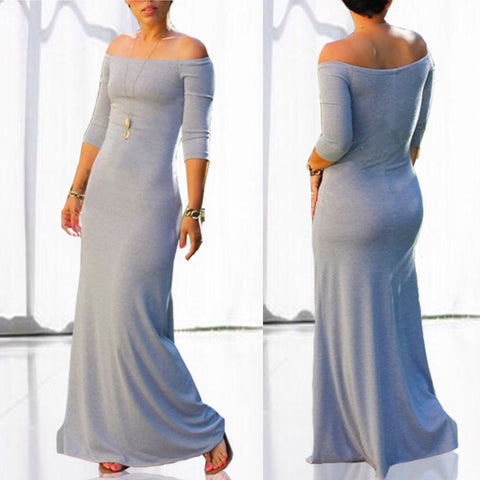 Gray Off the Shoulder Form Fitting Maxi