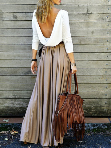 Backless Draped Maxi Dress Khaki
