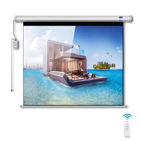 CRONY 120 Inch 4:3 Projection Screen Home Automatic Lifting  HD Projection Screen Wall Hanging Screen Electric Remote Control Projection Screen