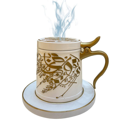 Bakhoor Big teacup Bukhoor Dukhoon Portable Incense Burner-white