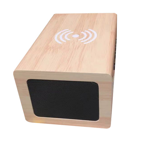 1299 Clock with BT speaker and Wireless charging Wireless Charging Wooden Alarm Clock, Wireless Bluetooth Speaker Voice Control