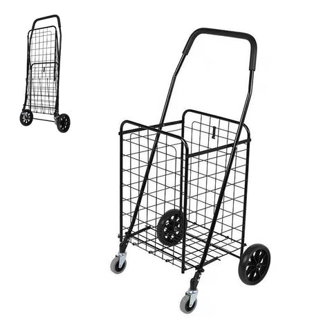 CRONY SC-106B Grocery Shopping Cart with Swivel Wheels, Folding Shopping Cart with Wide Cushion Handle