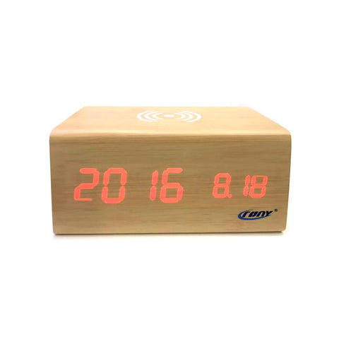 CRONY CN1299 Wooden Digital LED Clock with Wireless Moblie charging Bluetooth Speaker Alarm Temperature